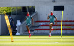 SOUTHAMPTON, ENGLAND - MAY 19: Ryan Bertrand(L) and Nathan Redmond(R) as Southampton FC players return to training following Covid-19 restrictions being relaxed, at the Staplewood Campus on May 19, 2020 in Southampton, England. (Photo by Matt Watson/Southampton FC via Getty Images)
