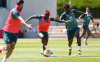SOUTHAMPTON, ENGLAND - MAY 29: Michael Obafemi(L) and Kevin Danso during a Southampton FC training session, at the Staplewood Campus on May 29, 2020 in Southampton, England. (Photo by Matt Watson/Southampton FC via Getty Images)