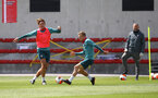 SOUTHAMPTON, ENGLAND - JUNE 05: Jannik Vestergaard(L) and James Ward-Prowse during a Southampton FC training session at the Staplewood Campus on June 05, 2020 in Southampton, England. (Photo by Matt Watson/Southampton FC via Getty Images)