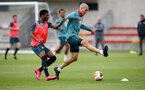 SOUTHAMPTON, ENGLAND - JUNE 09: Nathan Tella(L) and Oriol Romeu during a Southampton FC training session at the Staplewood Campus on June 09, 2020 in Southampton, England. (Photo by Matt Watson/Southampton FC via Getty Images)