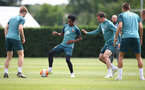 SOUTHAMPTON, ENGLAND - JUNE 17: Kyle Walker-Peters(centre) during a Southampton FC training session at the Staplewood Campus on June 17, 2020 in Southampton, England. (Photo by Matt Watson/Southampton FC via Getty Images)