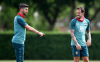 SOUTHAMPTON, ENGLAND - JUNE 17: Danny Ings(L) and Danny Ings during a Southampton FC training session at the Staplewood Campus on June 17, 2020 in Southampton, England. (Photo by Matt Watson/Southampton FC via Getty Images)