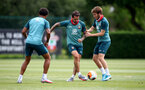 SOUTHAMPTON, ENGLAND - JUNE 17: Danny Ings(L) and Jake Vokins during a Southampton FC training session at the Staplewood Campus on June 17, 2020 in Southampton, England. (Photo by Matt Watson/Southampton FC via Getty Images)