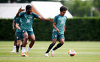 SOUTHAMPTON, ENGLAND - JUNE 17: Kevin Danso(L) and Jacob Maddox during a Southampton FC training session at the Staplewood Campus on June 17, 2020 in Southampton, England. (Photo by Matt Watson/Southampton FC via Getty Images)