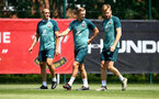 SOUTHAMPTON, ENGLAND - JUNE 22: L to R Oriol Romeu, James Ward-Prowse and Stuart Armstrong during a Southampton FC training session, at the Staplewood Campus, on June 22, 2020 in Southampton, England. (Photo by Matt Watson/Southampton FC via Getty Images)