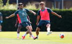 SOUTHAMPTON, ENGLAND - JUNE 23: Shane Long(L) and Jannik Vestergaard during a Southampton FC training session at the Staplewood Campus on June 23, 2020 in Southampton, England. (Photo by Matt Watson/Southampton FC via Getty Images)