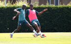 SOUTHAMPTON, ENGLAND - JUNE 23: Moussa Djenepo(L) and Kevin Danso during a Southampton FC training session at the Staplewood Campus on June 23, 2020 in Southampton, England. (Photo by Matt Watson/Southampton FC via Getty Images)