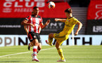 SOUTHAMPTON, ENGLAND - JUNE 25: (L) Yan Valery and (R) Kieran Tierney during the Premier League match between Southampton FC and Arsenal FC at St Mary's Stadium on March 21, 2020 in Southampton, United Kingdom. (Photo by Matt Watson/Southampton FC via Getty Images)