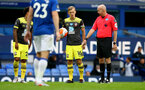 SOUTHAMPTON, ENGLAND - JULY 09: James Ward-Prowse free kick during the Premier League match between Everton FC and Southampton FC at Goodison Park on July 9, 2020 in Liverpool, United Kingdom. Football Stadiums around Europe remain empty due to the Coronavirus Pandemic as Government social distancing laws prohibit fans inside venues resulting in games being played behind closed doors. (Photo by Matt Watson/Southampton FC)