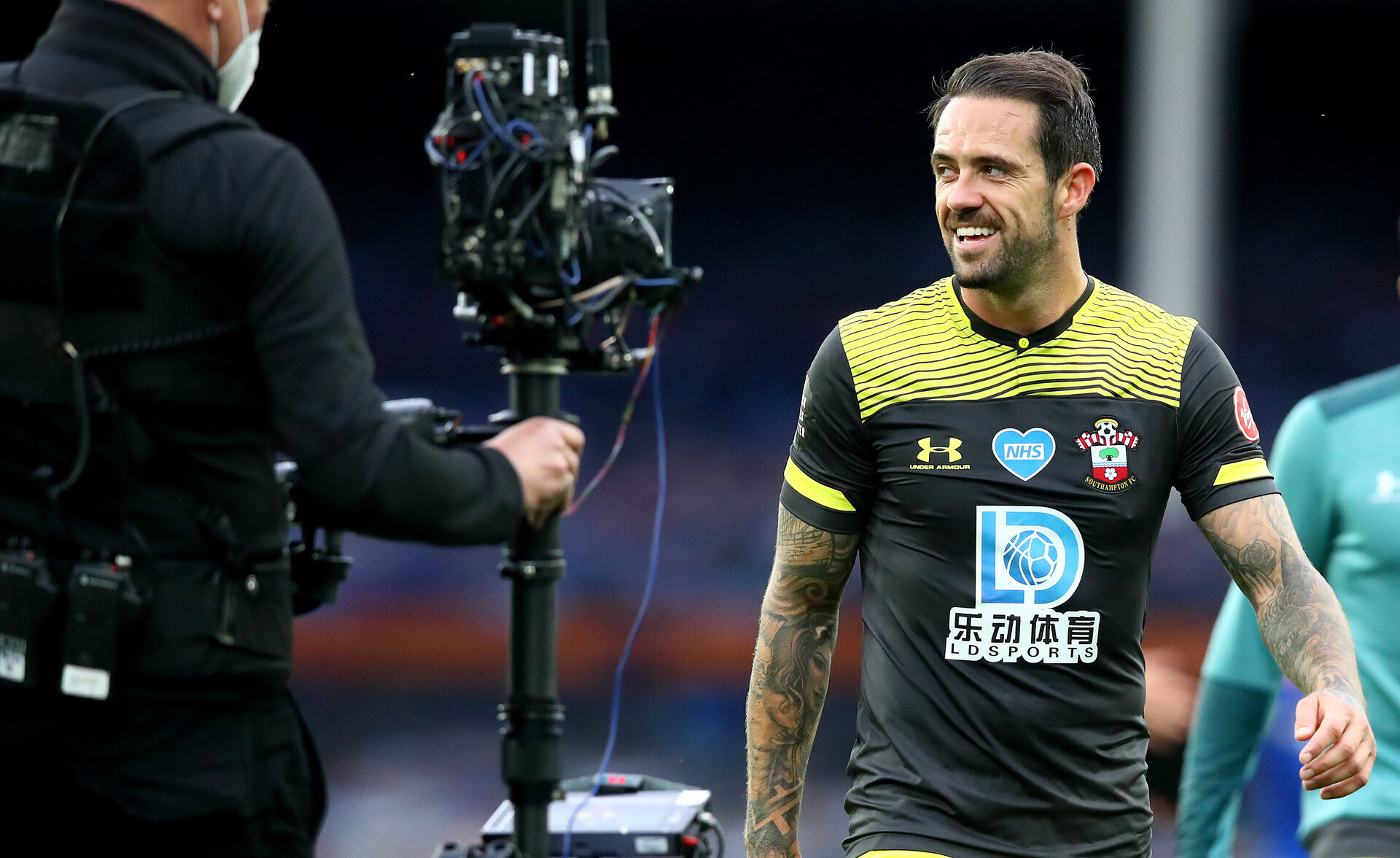 LIVERPOOL, ENGLAND - JULY 09: Danny Ings of Southampton during the Premier League match between Everton FC and Southampton FC at Goodison Park on July 09, 2020 in Liverpool, United Kingdom. Football Stadiums around Europe remain empty due to the Coronavirus Pandemic as Government social distancing laws prohibit fans inside venues resulting in all fixtures being played behind closed doors. (Photo by Matt Watson/Southampton FC via Getty Images)