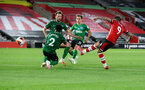 SOUTHAMPTON, ENGLAND - JULY 16: Danny Ings of Southampton hits the post during the Premier League match between Southampton FC and Brighton & Hove Albion at St Mary's Stadium on July 16, 2020 in Southampton, United Kingdom. Football Stadiums around Europe remain empty due to the Coronavirus Pandemic as Government social distancing laws prohibit fans inside venues resulting in all fixtures being played behind closed doors. (Photo by Matt Watson/Southampton FC via Getty Images)