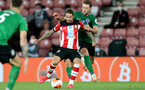SOUTHAMPTON, ENGLAND - JULY 16: Danny Ings (L) of southampton and Dale Stephens (R) of brighton during the Premier League match between Southampton FC and Brighton & Hove Albion at St Mary's Stadium on July 16, 2020 in Southampton, United Kingdom. Football Stadiums around Europe remain empty due to the Coronavirus Pandemic as Government social distancing laws prohibit fans inside venues resulting in all fixtures being played behind closed doors. (Photo by Chris Moorhouse/Southampton FC via Getty Images)