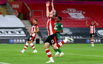 SOUTHAMPTON, ENGLAND - JULY 16: Pierre-Emile Hojbjerg of southampton during the Premier League match between Southampton FC and Brighton & Hove Albion at St Mary's Stadium on July 16, 2020 in Southampton, United Kingdom. Football Stadiums around Europe remain empty due to the Coronavirus Pandemic as Government social distancing laws prohibit fans inside venues resulting in all fixtures being played behind closed doors. (Photo by Matt Watson/Southampton FC via Getty Images)