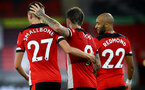 SOUTHAMPTON, ENGLAND - JULY 16: L to R Will Smallbone, Danny Ings and Nathan Redmond during the Premier League match between Southampton FC and Brighton & Hove Albion at St Mary's Stadium on July 16, 2020 in Southampton, United Kingdom. Football Stadiums around Europe remain empty due to the Coronavirus Pandemic as Government social distancing laws prohibit fans inside venues resulting in all fixtures being played behind closed doors. (Photo by Matt Watson/Southampton FC via Getty Images)