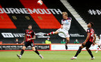BOURNEMOUTH, ENGLAND - JULY 19: Diego Rico (L) of bournemouth, James Ward-Prowse of southampton and Lloyd Kelly (R) of bourneouth during the Premier League match between AFC Bournemouth and Southampton FC at Vitality Stadium on July 19, 2020 in Bournemouth, United Kingdom. Football Stadiums around Europe remain empty due to the Coronavirus Pandemic as Government social distancing laws prohibit fans inside venues resulting in all fixtures being played behind closed doors. (Photo by Matt Watson/Southampton FC via Getty Images)