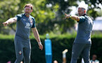 SOUTHAMPTON, ENGLAND - JULY 22: Manager Ralph Hasenhuttl(L) and coach Kelvin Davis during a Southampton FC training session at the Staplewood Campus on July 22, 2020 in Southampton, England. (Photo by Matt Watson/Southampton FC via Getty Images)