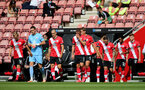 SOUTHAMPTON, ENGLAND - JULY 26: Southampton coming out of the tunnel ahead of the Premier League match between Southampton FC and Sheffield United at St Mary's Stadium on April 17, 2020 in Southampton, United Kingdom. (Photo by Chris Moorhouse/Southampton FC via Getty Images)
