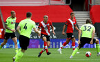 SOUTHAMPTON, ENGLAND - JULY 26: Oriol Romeu (center) of Southampton during the Premier League match between Southampton FC and Sheffield United at St Mary's Stadium on April 17, 2020 in Southampton, United Kingdom. (Photo by Matt Watson/Southampton FC via Getty Images)