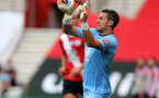 SOUTHAMPTON, ENGLAND - JULY 26: Alex McCarthy of Southampton save during the Premier League match between Southampton FC and Sheffield United at St Mary's Stadium on April 17, 2020 in Southampton, United Kingdom. (Photo by Chris Moorhouse/Southampton FC via Getty Images)