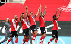 SOUTHAMPTON, ENGLAND - JULY 26: Southampton players celebrating the end of 2019/2020 season during the Premier League match between Southampton FC and Sheffield United at St Mary's Stadium on April 17, 2020 in Southampton, United Kingdom. (Photo by Chris Moorhouse/Southampton FC via Getty Images)