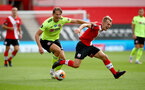 SOUTHAMPTON, ENGLAND - JULY 26: James Ward-Prowse(R) of Southampton is fouled by Sander Berge(L) of Sheffield United during the Premier League match between Southampton FC and Sheffield United at St Mary's Stadium on July 26, 2020 in Southampton, United Kingdom. (Photo by Matt Watson/Southampton FC via Getty Images)