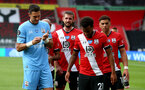 SOUTHAMPTON, ENGLAND - JULY 26: Jack Stephens(centre) during the Premier League match between Southampton FC and Sheffield United at St Mary's Stadium on July 26, 2020 in Southampton, United Kingdom. (Photo by Matt Watson/Southampton FC via Getty Images)