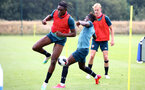 SOUTHAMPTON, ENGLAND - August 13: Dan N'Lundulu (L) and Alex Janekewitz during a Southampton U23 training session at Staplewood Training ground on August 13, 2020 in Southampton, England. (Photo by Isabelle Field/Southampton FC via Getty Images)