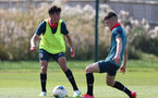 SOUTHAMPTON, ENGLAND - August 13: Marco Rus (L) and Matt Carson (R) during a Southampton U18 training session at Staplewood Training ground on August 13, 2020 in Southampton, England. (Photo by Isabelle Field/Southampton FC via Getty Images)