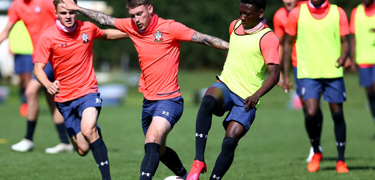 SOUTHAMPTON, ENGLAND - August 20: Callum Slattery (L) and Kazeem Olaigbe (R) during a Southampton U18 pre-season training session at Staplewood Training ground on August 20, 2020 in Southampton, England. (Photo by Isabelle Field/Southampton FC via Getty Images)