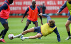 SOUTHAMPTON, ENGLAND - AUGUST 25: Stuart Armstrong slides in for a tackle during a Southampton FC training session at the Staplewood Campus on August 25, 2020 in Southampton, England. (Photo by Matt Watson/Southampton FC via Getty Images)
