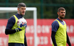 SOUTHAMPTON, ENGLAND - AUGUST 25: Fraser Forster(L) and Jack Stephens during a Southampton FC training session at the Staplewood Campus on August 25, 2020 in Southampton, England. (Photo by Matt Watson/Southampton FC via Getty Images)