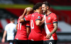 SOUTHAMPTON, ENGLAND - AUGUST 29: Danny Ings celebrates with team mates during a pre-season friendly between Southampton FC and Swansea City at St Marys Stadium, on August 29, 2020 in Southampton, England. (Photo by Matt Watson/Southampton FC via Getty Images)