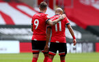 SOUTHAMPTON, ENGLAND - AUGUST 29: Danny Ings(L) and Nathan Redmond during a pre-season friendly between Southampton FC and Swansea City at St Marys Stadium, on August 29, 2020 in Southampton, England. (Photo by Matt Watson/Southampton FC via Getty Images)