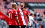 SOUTHAMPTON, ENGLAND - AUGUST 29: Nathan Redmond(L) and Danny Ings during a pre-season friendly between Southampton FC and Swansea City at St Marys Stadium, on August 29, 2020 in Southampton, England. (Photo by Matt Watson/Southampton FC via Getty Images)