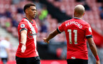 SOUTHAMPTON, ENGLAND - AUGUST 29: Ché Adams(L) and Nathan Redmond during a pre-season friendly between Southampton FC and Swansea City at St Marys Stadium, on August 29, 2020 in Southampton, England. (Photo by Matt Watson/Southampton FC via Getty Images)