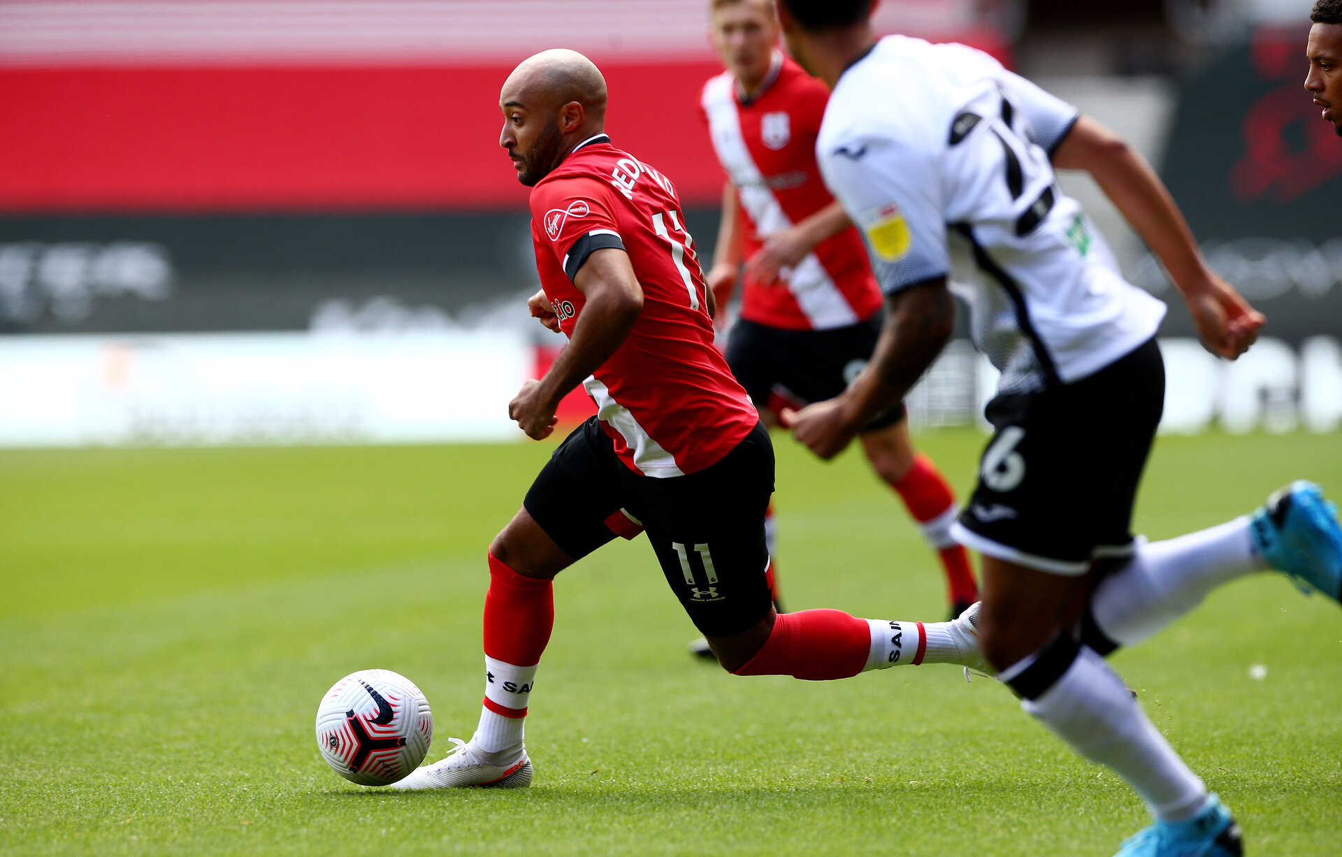SOUTHAMPTON, ENGLAND - AUGUST 29: Nathan Redmond during a pre-season friendly between Southampton FC and Swansea City at St Marys Stadium, on August 29, 2020 in Southampton, England. (Photo by Matt Watson/Southampton FC via Getty Images)