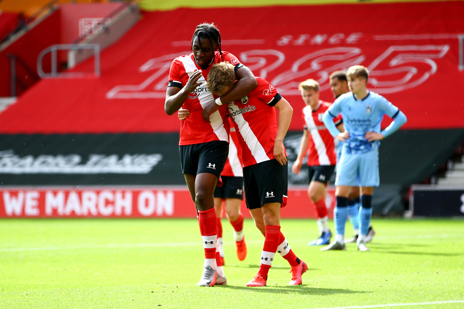 SOUTHAMPTON, ENGLAND - SEPTEMBER 1: Dan N'Lundulu (L) and Jake Vokins (R) celebrating Jake Vokins goal during a pre-season friendly match between Southampton U23 and Coventry City at St Mary's Stadium on September 1, 2020 in Southampton, United Kingdom. (Photo by Isabelle Field/Southampton FC)