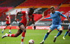 SOUTHAMPTON, ENGLAND - SEPTEMBER 1: Dan N'Lundulu (L) of Southampton during a pre-season friendly match between Southampton U23 and Coventry City at St Mary's Stadium on September 1, 2020 in Southampton, United Kingdom. (Photo by Isabelle Field/Southampton FC)