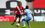 SOUTHAMPTON, ENGLAND - SEPTEMBER 1: Yan Valery (L) of Southampton during a pre-season friendly match between Southampton U23 and Coventry City at St Mary's Stadium on September 1, 2020 in Southampton, United Kingdom. (Photo by Isabelle Field/Southampton FC)
