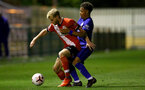 SOUTHAMPTON, ENGLAND - SEPTEMBER 18: Josh Sims (L) of Southampton during the Premier League 2 match between Southampton FC B Team and Chelsea FC at Snows Stadium on September 18, 2020 in Southampton, England. (Photo by Isabelle Field/Southampton FC via Getty Images)