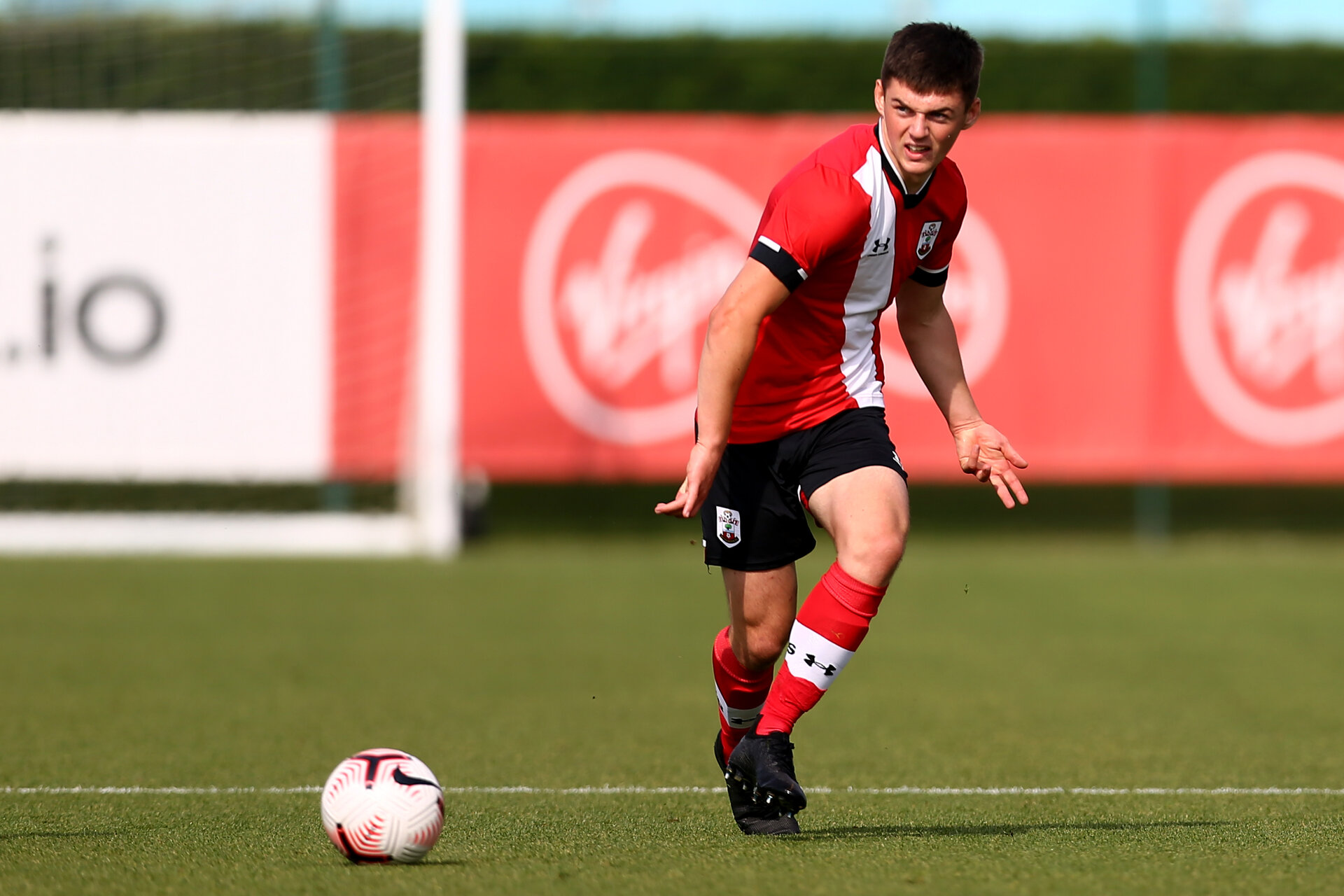 SOUTHAMPTON, ENGLAND - SEPTEMBER 19: Matt Carson during the Premier League U18 match between Southampton FC U18 and Crystal Palace FC at Staplewood Training Ground on September 19, 2020 in Southampton, England. (Photo by Isabelle Field/Southampton FC via Getty Images)