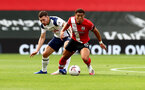 SOUTHAMPTON, ENGLAND - SEPTEMBER 20: Ché Adams(R) of Southampton and Pierre-Emile Hojbjerg(L) of Tottenham Hotspur during the Premier League match between Southampton and Tottenham Hotspur at St Mary's Stadium on September 20, 2020 in Southampton, United Kingdom. (Photo by Matt Watson/Southampton FC via Getty Images)