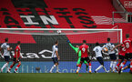 SOUTHAMPTON, ENGLAND - SEPTEMBER 20: Saints force a save during the Premier League match between Southampton and Tottenham Hotspur at St Mary's Stadium on September 20, 2020 in Southampton, United Kingdom. (Photo by Chris Moorhouse/Southampton FC via Getty Images)