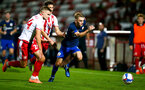 STEVENAGE, ENGLAND - SEPTEMBER 22: Romain Vincelot (L) of Stevenage and Jake Hesketh (R) of Southampton during the EFL Trophy match between Stevenage FC and Southampton FC B Team  at the Lamex Stadium on September 22, 2020 in Stevenage, England. (Photo by Isabelle Field/Southampton FC via Getty Images)