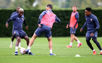 SOUTHAMPTON, ENGLAND - SEPTEMBER 23: Moussa Djenepo(L) during a Southampton FC training session at the Staplewood Campus on September 23, 2020 in Southampton, England. (Photo by Matt Watson/Southampton FC via Getty Images)