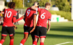 SOUTHAMPTON, ENGLAND - SEPTEMBER 26: Dan N'Lundulu (center) celebrates goal with tea mates Alex Janekewitz (L) and Callum Slattery (R) during Premier League 2 Match between Southampton B Team and West Ham United at Staplewood Training Ground on September 26, 2020 in Southampton, England. (Photo by Isabelle Field/Southampton FC via Getty Images)