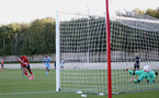 SOUTHAMPTON, ENGLAND - SEPTEMBER 26: Dan N'Lundulu (L) penalty goal during Premier League 2 Match between Southampton B Team and West Ham United at Staplewood Training Ground on September 26, 2020 in Southampton, England. (Photo by Isabelle Field/Southampton FC via Getty Images)