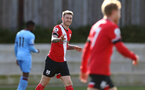 SOUTHAMPTON, ENGLAND - SEPTEMBER 26: Callum Slattery (L) of Southampton during Premier League 2 Match between Southampton B Team and West Ham United at Staplewood Training Ground on September 26, 2020 in Southampton, England. (Photo by Isabelle Field/Southampton FC via Getty Images)
