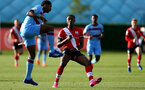 SOUTHAMPTON, ENGLAND - SEPTEMBER 26: Dan N'Lundulu (R) of Southampton during Premier League 2 Match between Southampton B Team and West Ham United at Staplewood Training Ground on September 26, 2020 in Southampton, England. (Photo by Isabelle Field/Southampton FC via Getty Images)