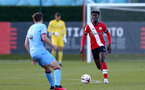 SOUTHAMPTON, ENGLAND - SEPTEMBER 26: Kgaogelo Chauke (R) of Southampton during Premier League 2 Match between Southampton B Team and West Ham United at Staplewood Training Ground on September 26, 2020 in Southampton, England. (Photo by Isabelle Field/Southampton FC via Getty Images)